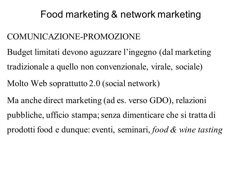 Food marketing & network marketing COMUNICAZIONE-PROMOZIONE Budget limitati devono aguzzare lingegno (dal marketing tradizionale a quello non convenzi