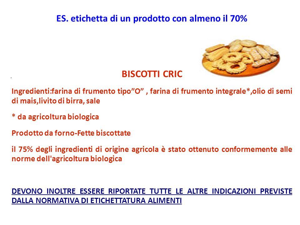. ES. etichetta di un prodotto con almeno il 70% BISCOTTI CRIC Ingredienti:farina di frumento tipoO, farina di frumento integrale*,olio di semi di mai