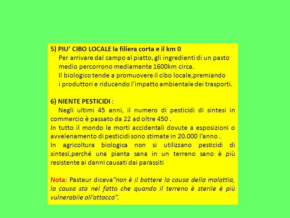 5) PIU CIBO LOCALE la filiera corta e il km 0 Per arrivare dal campo al piatto, gli ingredienti di un pasto medio percorrono mediamente 1600km circa.