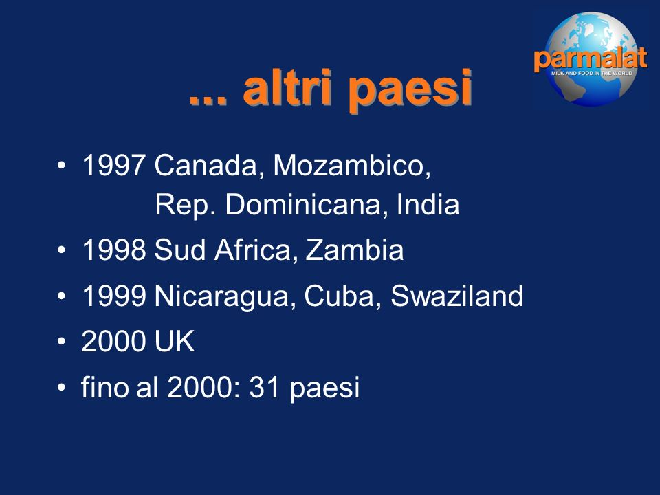 Parmalat nel mondo 1992 Argentina, Uruguay, USA 1993 Russia, Ungheria 1994 Ukraina, Venezuela, Cile, Paraguay, Colombia 1995 Messico, Ecuador, Cina 1996 Romania, Australia