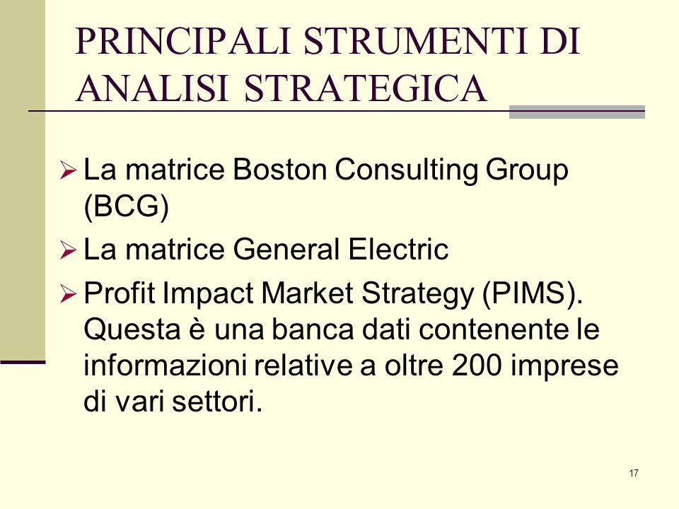 17 PRINCIPALI STRUMENTI DI ANALISI STRATEGICA La matrice Boston Consulting Group (BCG) La matrice General Electric Profit Impact Market Strategy (PIMS