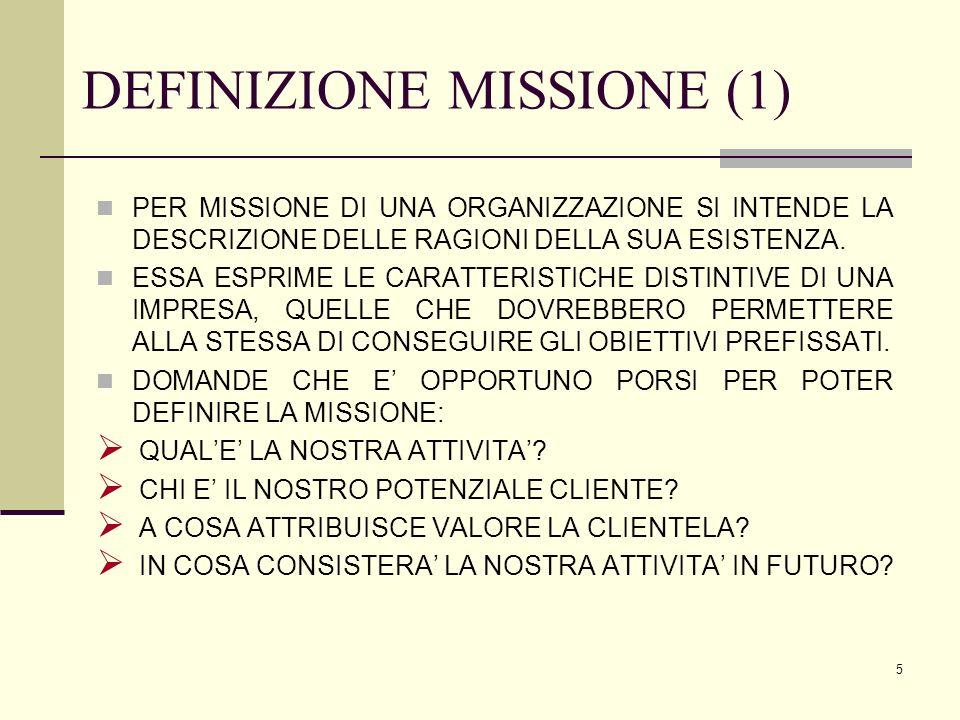 5 DEFINIZIONE MISSIONE (1) PER MISSIONE DI UNA ORGANIZZAZIONE SI INTENDE LA DESCRIZIONE DELLE RAGIONI DELLA SUA ESISTENZA. ESSA ESPRIME LE CARATTERIST