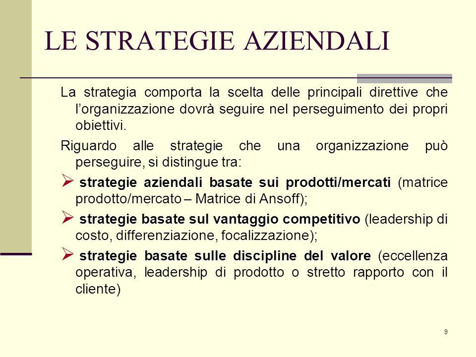 9 LE STRATEGIE AZIENDALI La strategia comporta la scelta delle principali direttive che lorganizzazione dovrà seguire nel perseguimento dei propri obi