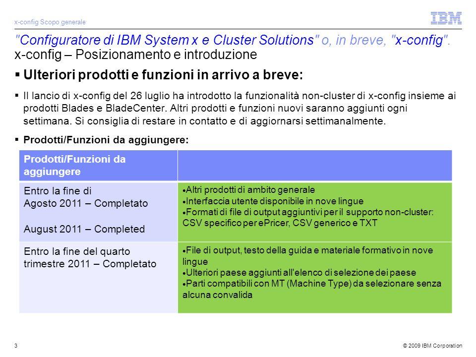 © 2009 IBM Corporation3 Configuratore di IBM System x e Cluster Solutions o, in breve, x-config .