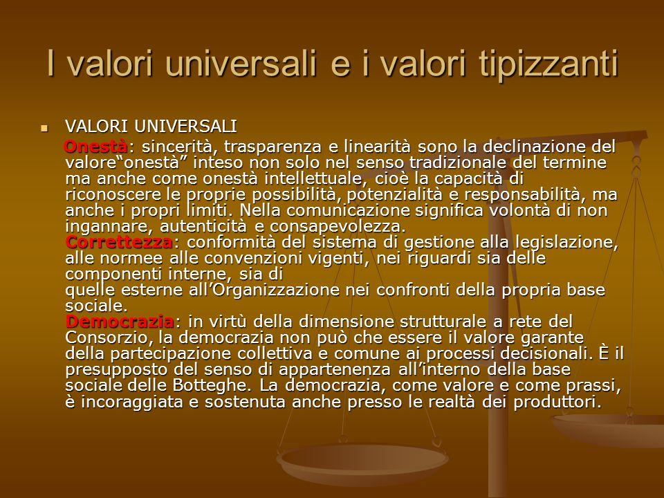 I valori universali e i valori tipizzanti VALORI UNIVERSALI VALORI UNIVERSALI Onestà: sincerità, trasparenza e linearità sono la declinazione del valo