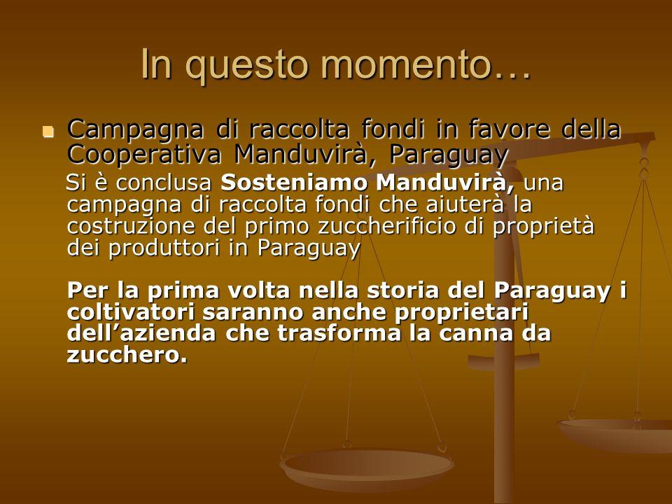 In questo momento… Campagna di raccolta fondi in favore della Cooperativa Manduvirà, Paraguay Campagna di raccolta fondi in favore della Cooperativa M