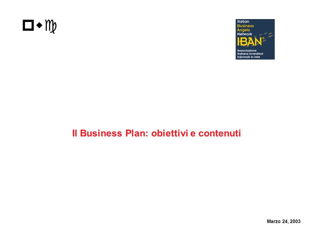 pwc Il Business Plan: obiettivi e contenuti Marzo 24, 2003
