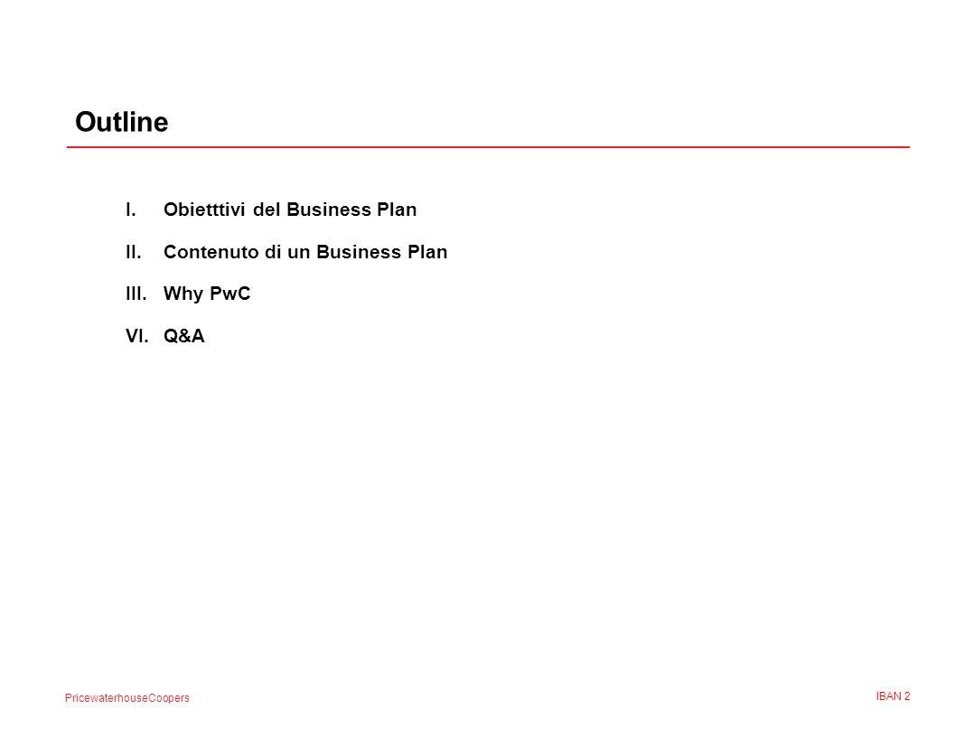 PricewaterhouseCoopers IBAN 2 Outline I.Obietttivi del Business Plan II.Contenuto di un Business Plan III.Why PwC VI.Q&A