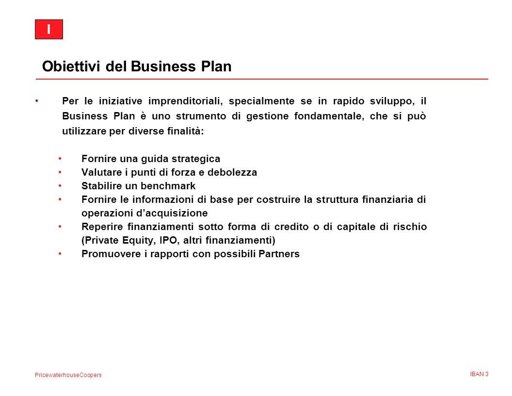 PricewaterhouseCoopers IBAN 4 Contenuto di un Business Plan (1 di 5) 1.Executive Summary 2.La società 3.I prodotti 4.Lanalisi del settore e di mercato 5.La strategia di marketing 6.La struttura del management 7.Il piano di realizzazione 8.I capitali necessari 9.Le informazioni finanziarie II