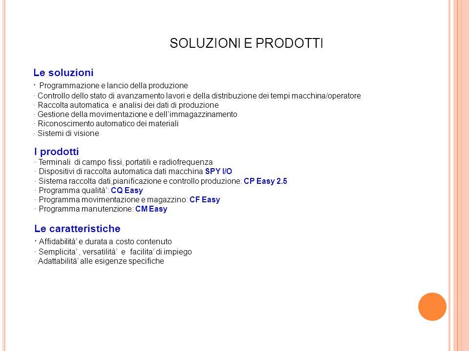 Le soluzioni · Programmazione e lancio della produzione · Controllo dello stato di avanzamento lavori e della distribuzione dei tempi macchina/operato