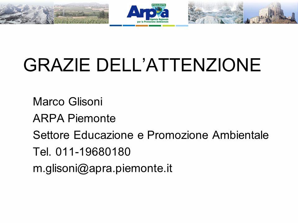 GRAZIE DELLATTENZIONE Marco Glisoni ARPA Piemonte Settore Educazione e Promozione Ambientale Tel.