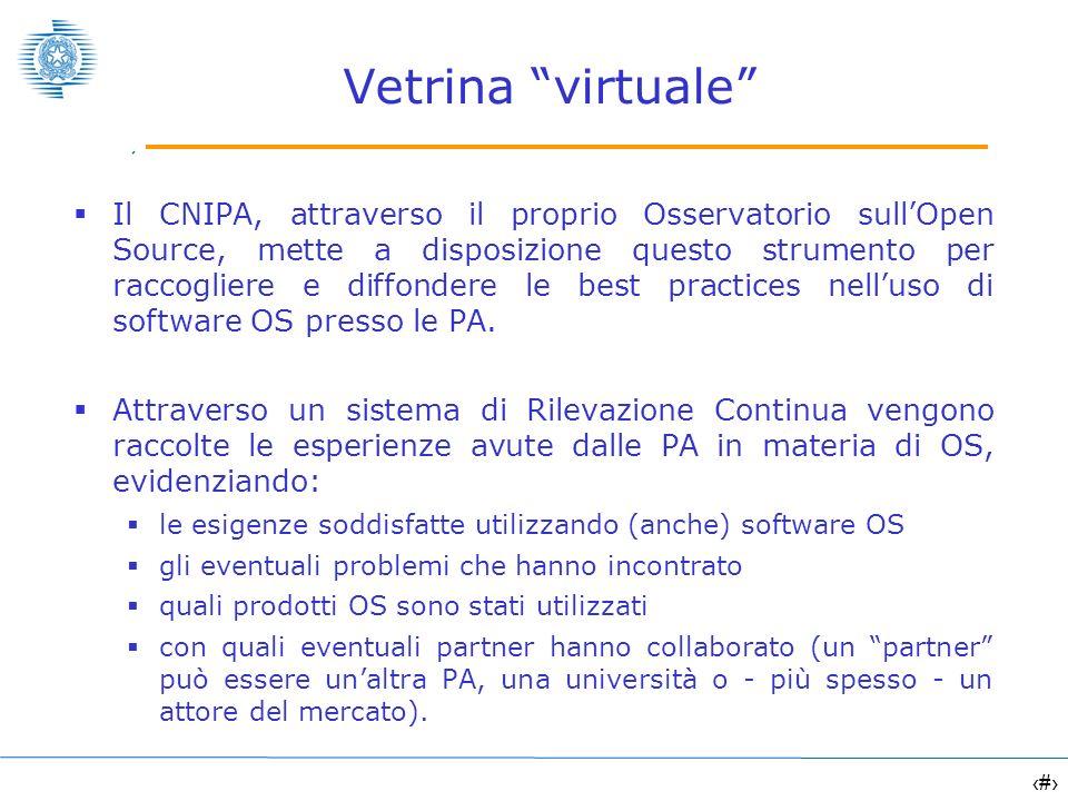 11 Vetrina virtuale Il CNIPA, attraverso il proprio Osservatorio sullOpen Source, mette a disposizione questo strumento per raccogliere e diffondere l