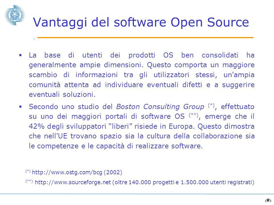 8 Vantaggi del software Open Source La base di utenti dei prodotti OS ben consolidati ha generalmente ampie dimensioni. Questo comporta un maggiore sc