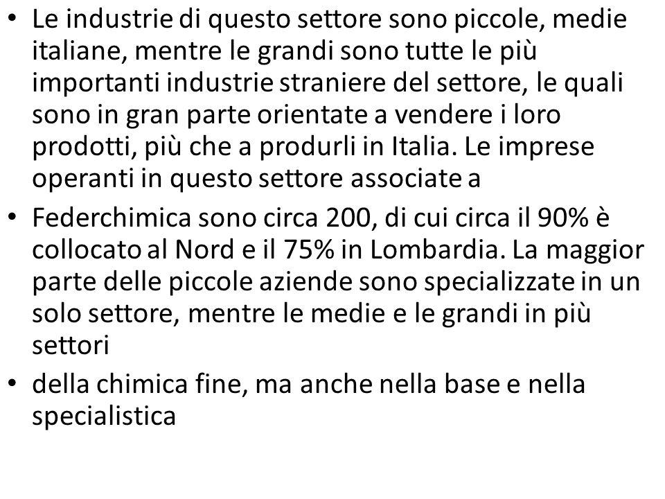 Le industrie di questo settore sono piccole, medie italiane, mentre le grandi sono tutte le più importanti industrie straniere del settore, le quali s