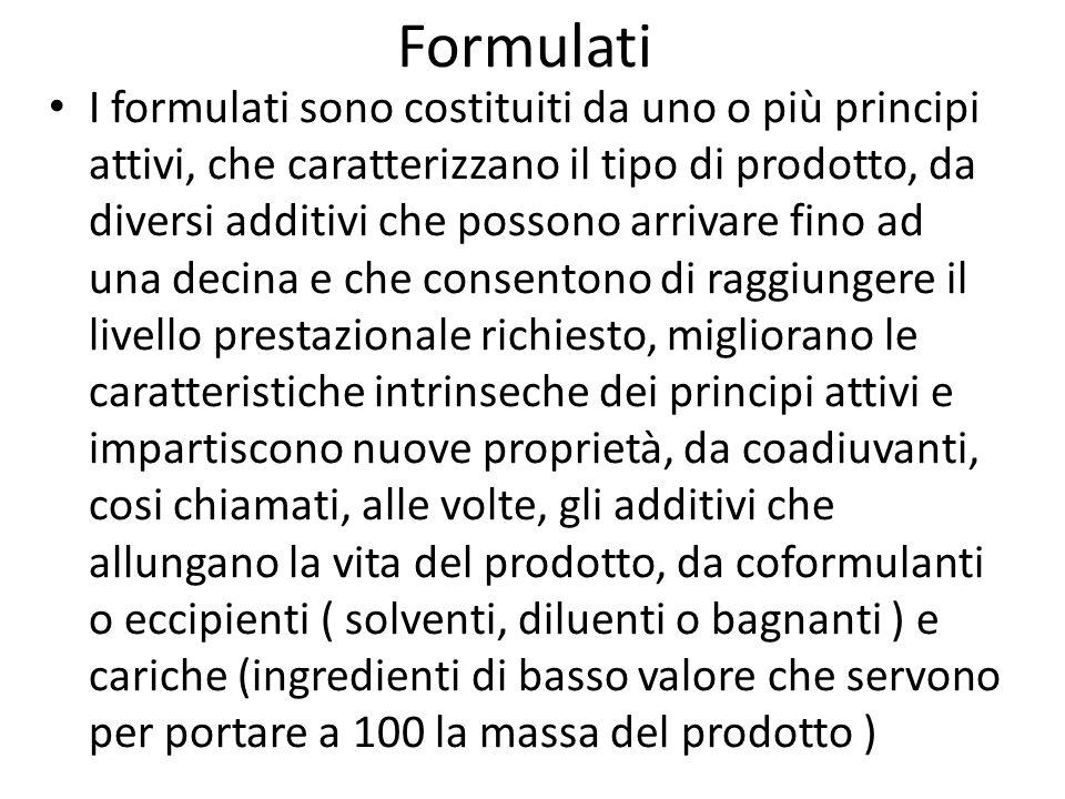 Formulati I formulati sono costituiti da uno o più principi attivi, che caratterizzano il tipo di prodotto, da diversi additivi che possono arrivare f
