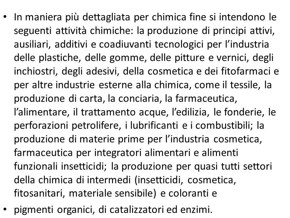 In maniera più dettagliata per chimica fine si intendono le seguenti attività chimiche: la produzione di principi attivi, ausiliari, additivi e coadiu