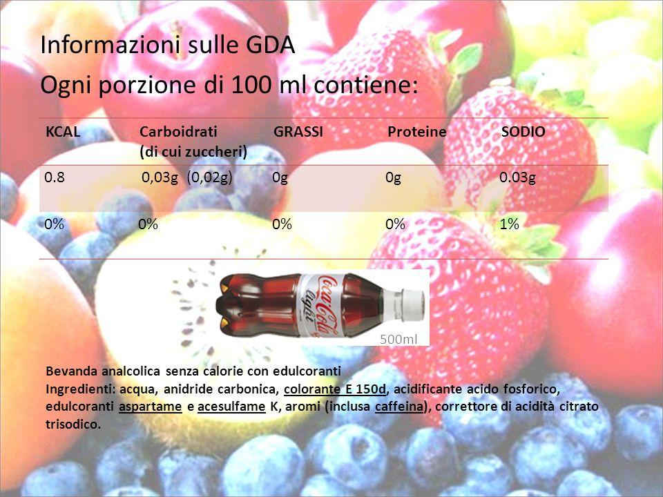 Informazioni sulle GDA Ogni porzione di 100 ml contiene: KCALCarboidrati (di cui zuccheri) GRASSIProteineSODIO 0.8 0,03g (0,02g)0g 0.03g 0% 1% 500ml B