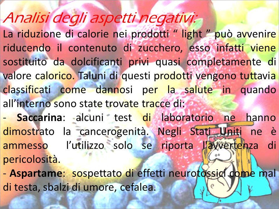 Analisi degli aspetti negativi: La riduzione di calorie nei prodotti light può avvenire riducendo il contenuto di zucchero, esso infatti viene sostitu