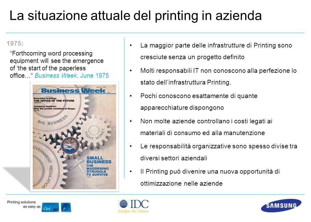 La maggior parte delle infrastrutture di Printing sono cresciute senza un progetto definito Molti responsabili IT non conoscono alla perfezione lo stato dellinfrastruttura Printing.