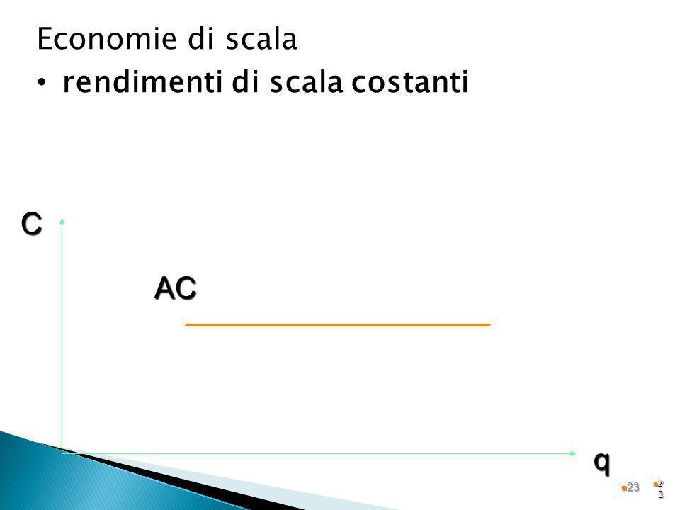 2323 Economie di scala rendimenti di scala costanti AC q C 23 23