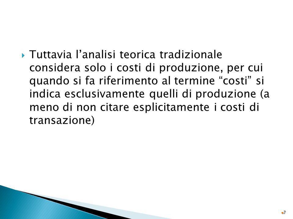 Tuttavia lanalisi teorica tradizionale considera solo i costi di produzione, per cui quando si fa riferimento al termine costi si indica esclusivament