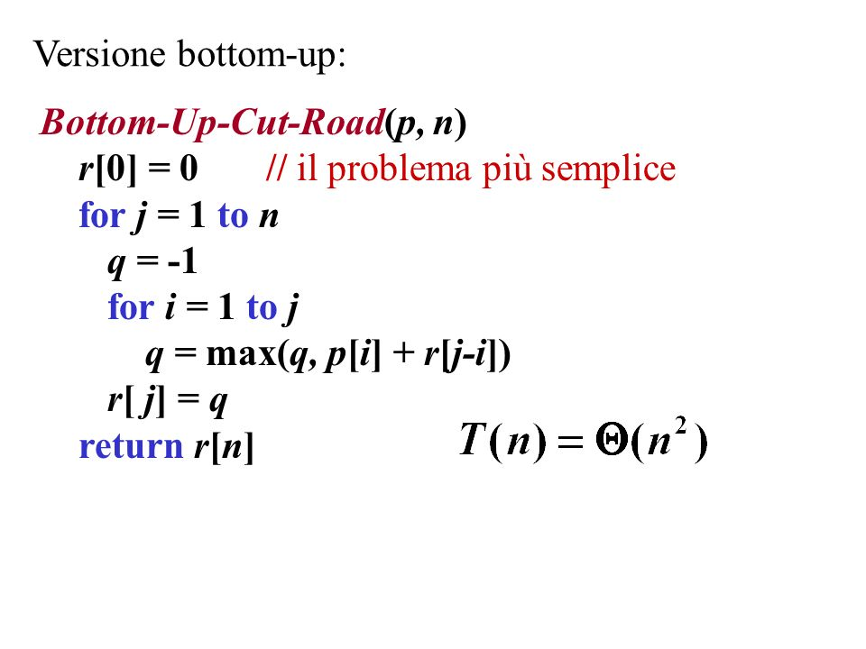 Versione bottom-up: Bottom-Up-Cut-Road(p, n) r[0] = 0 // il problema più semplice for j = 1 to n q = -1 for i = 1 to j q = max(q, p[i] + r[j-i]) r[ j]