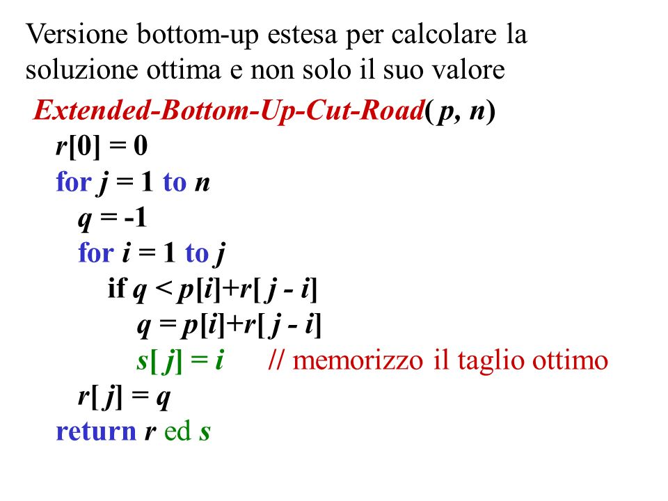 Versione bottom-up estesa per calcolare la soluzione ottima e non solo il suo valore Extended-Bottom-Up-Cut-Road( p, n) r[0] = 0 for j = 1 to n q = -1