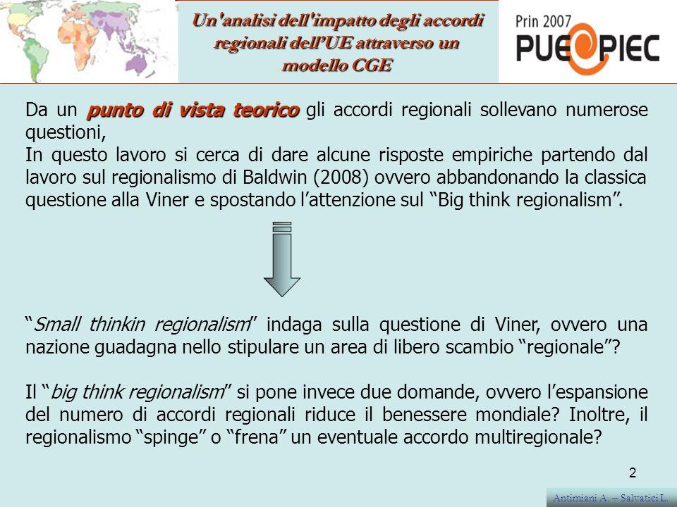 Un analisi dell impatto degli accordi regionali dellUE attraverso un modello CGE IL modello usato è GTAP, versione 7.1 (2004) Il baseline, dovendo rappresentare il deciso, contiene, oltre ad una serie di aggiustamenti già in essere per quanto riguarda la PAC e lallargamento (EU27), anche tutti quegli accordi già conclusi ovvero che abbiano uno schedule per la creazione di un area di libero scambio: Euromed Corea del Sud Cile Mexico Sud Africa EPA (introdotto solo per i paesi CARIFORUM al netto delle eccezioni) EBA Oltre allo spostamento delle variabili macro dal 2004 al 2009 (forza lavoro, PIL e Popolazione).