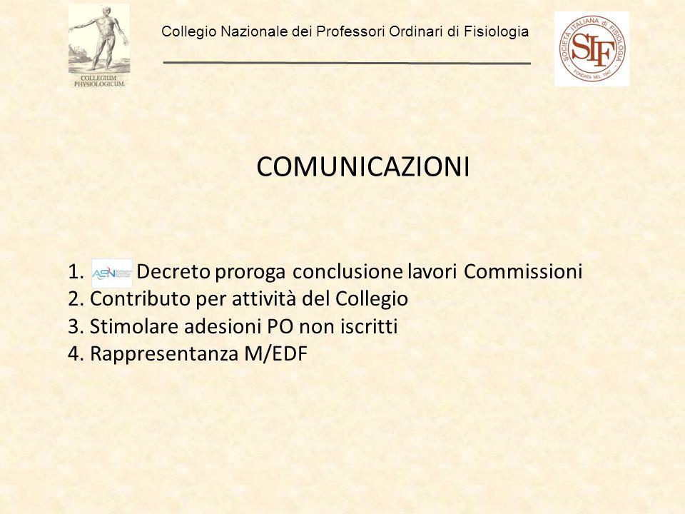 Collegio Nazionale dei Professori Ordinari di Fisiologia COMUNICAZIONI 1. Decreto proroga conclusione lavori Commissioni 2. Contributo per attività de