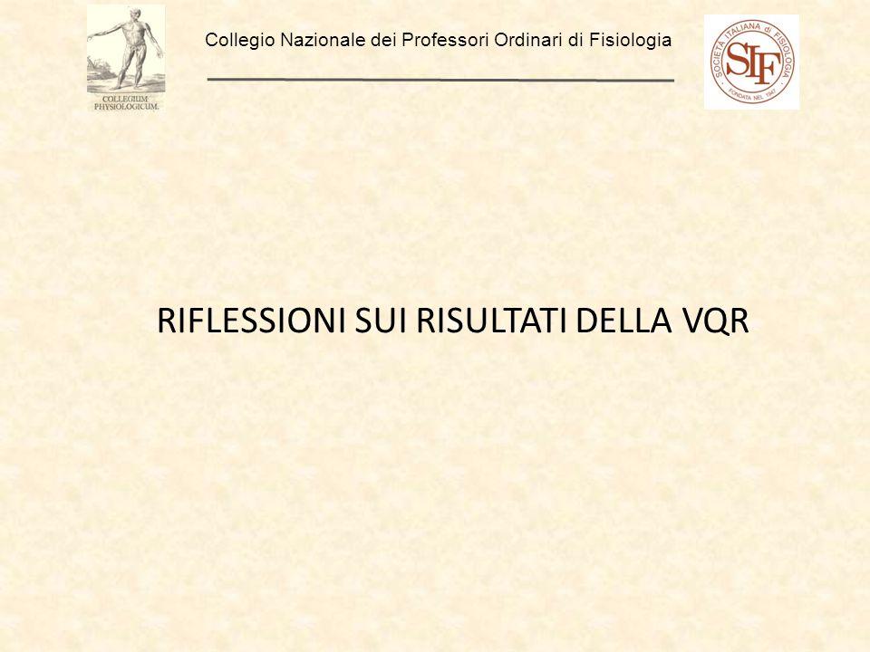 Collegio Nazionale dei Professori Ordinari di Fisiologia RIFLESSIONI SUI RISULTATI DELLA VQR
