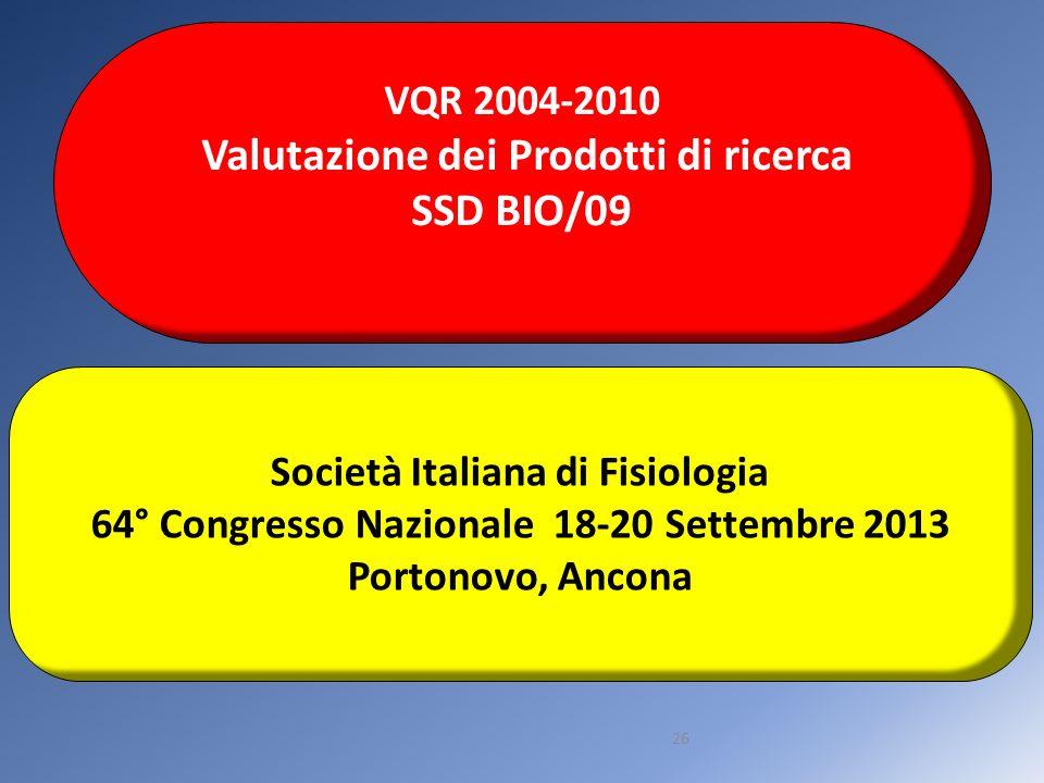 26 VQR 2004-2010 Valutazione dei Prodotti di ricerca SSD BIO/09 Società Italiana di Fisiologia 64° Congresso Nazionale 18-20 Settembre 2013 Portonovo,
