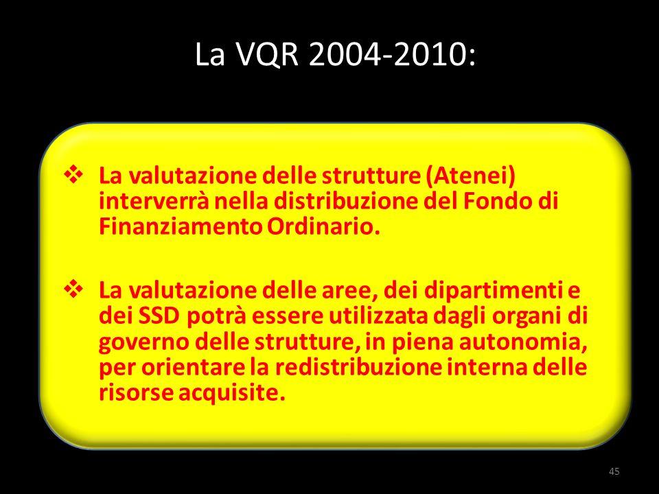 La valutazione delle strutture (Atenei) interverrà nella distribuzione del Fondo di Finanziamento Ordinario. La valutazione delle aree, dei dipartimen