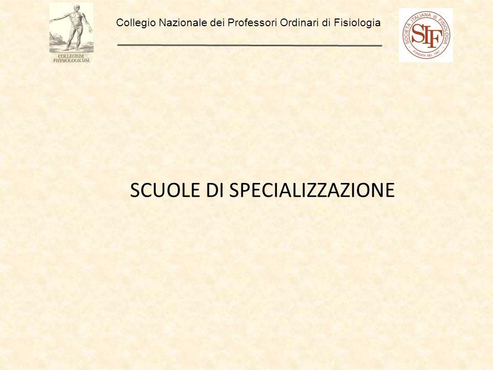 Collegio Nazionale dei Professori Ordinari di Fisiologia SCUOLE DI SPECIALIZZAZIONE