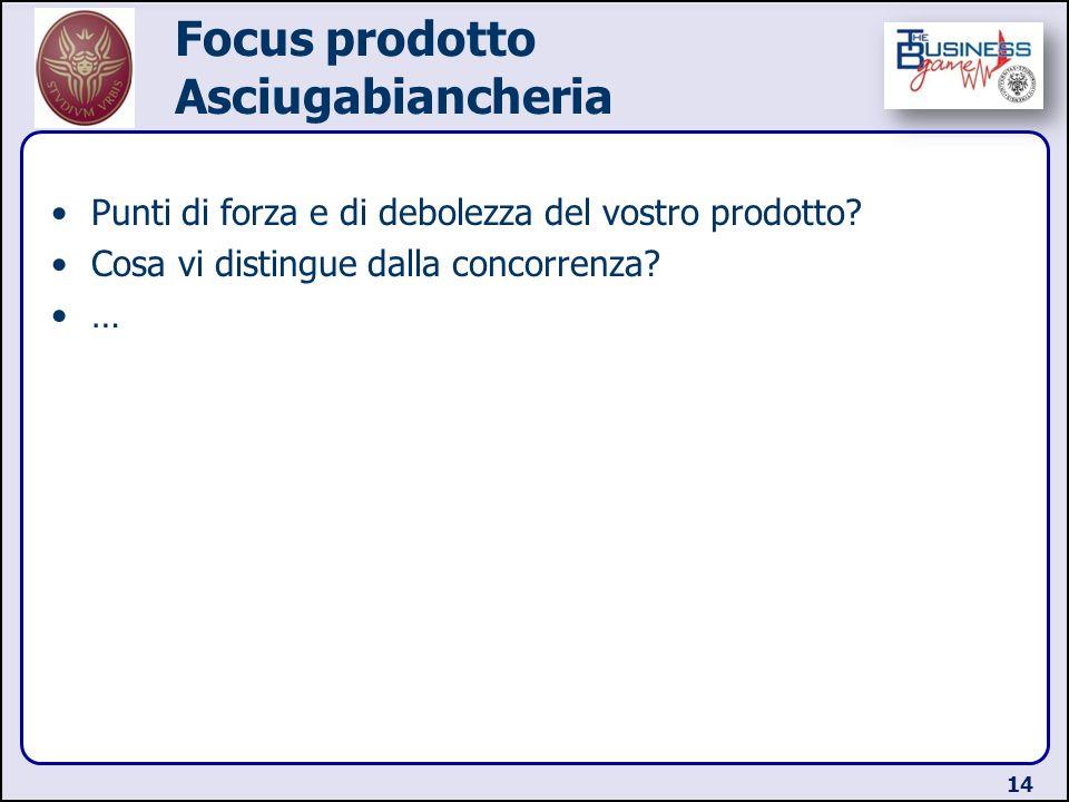 Focus prodotto Asciugabiancheria Punti di forza e di debolezza del vostro prodotto? Cosa vi distingue dalla concorrenza? … 14