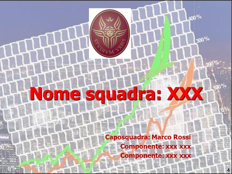 Nome squadra: XXX Caposquadra: Marco Rossi Componente: xxx xxx 4