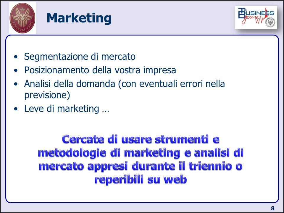 Marketing Segmentazione di mercato Posizionamento della vostra impresa Analisi della domanda (con eventuali errori nella previsione) Leve di marketing