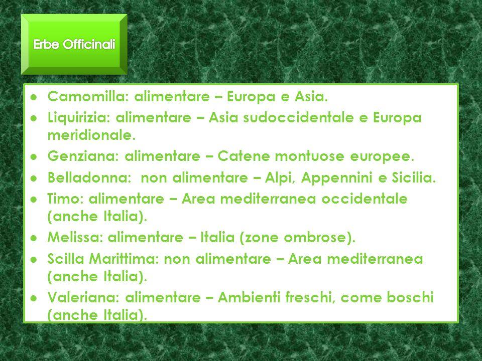 Camomilla: alimentare – Europa e Asia.