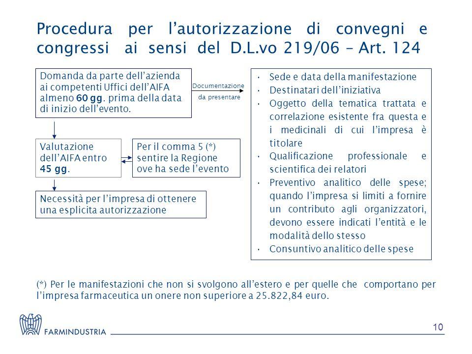 Procedura per lautorizzazione di convegni e congressi ai sensi del D.L.vo 219/06 – Art. 124 Domanda da parte dellazienda ai competenti Uffici dellAIFA