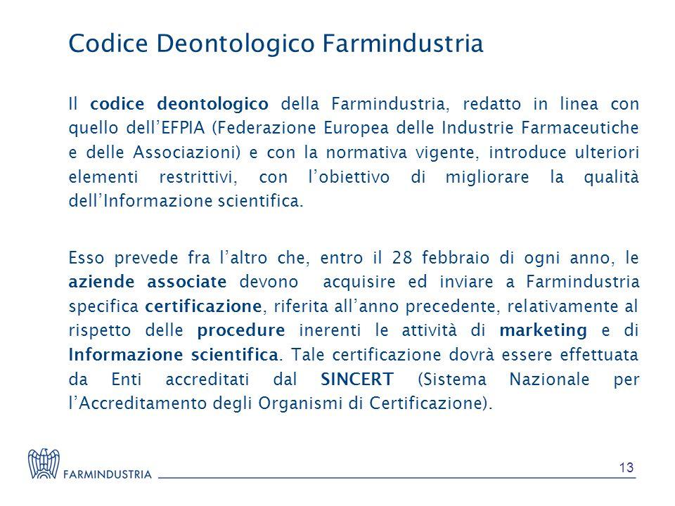 Il codice deontologico della Farmindustria, redatto in linea con quello dellEFPIA (Federazione Europea delle Industrie Farmaceutiche e delle Associazi