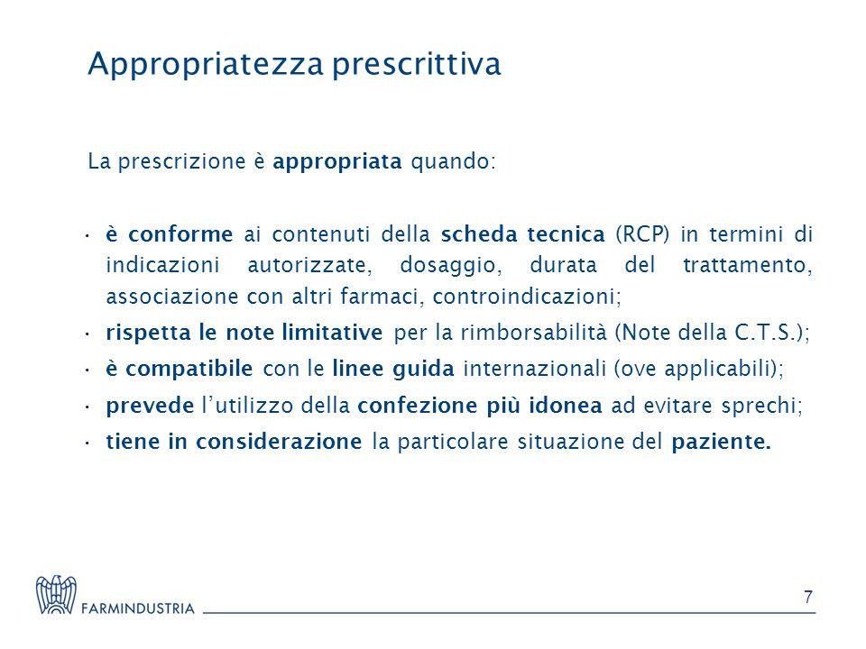 Appropriatezza prescrittiva La prescrizione è appropriata quando: è conforme ai contenuti della scheda tecnica (RCP) in termini di indicazioni autoriz