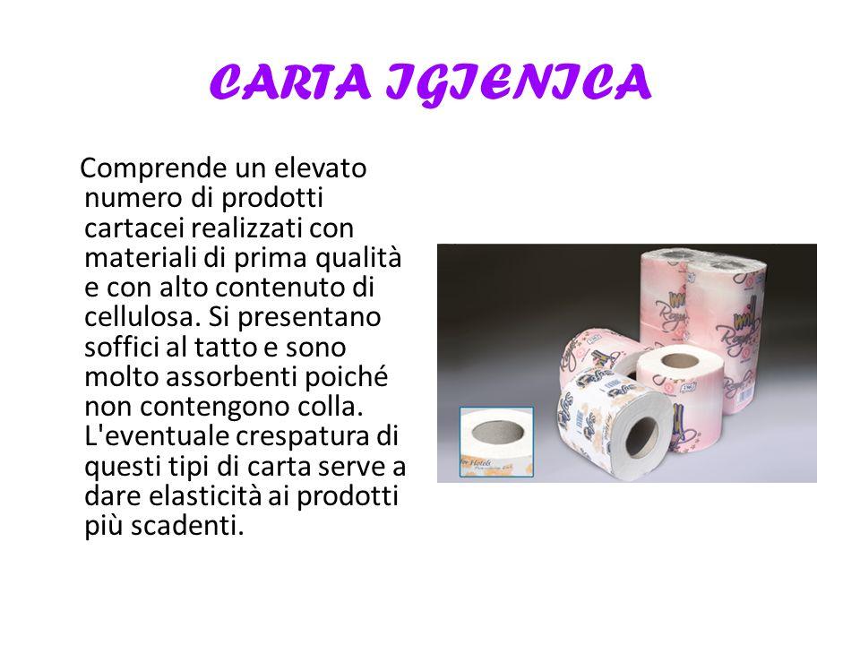 CARTA IGIENICA Comprende un elevato numero di prodotti cartacei realizzati con materiali di prima qualità e con alto contenuto di cellulosa.