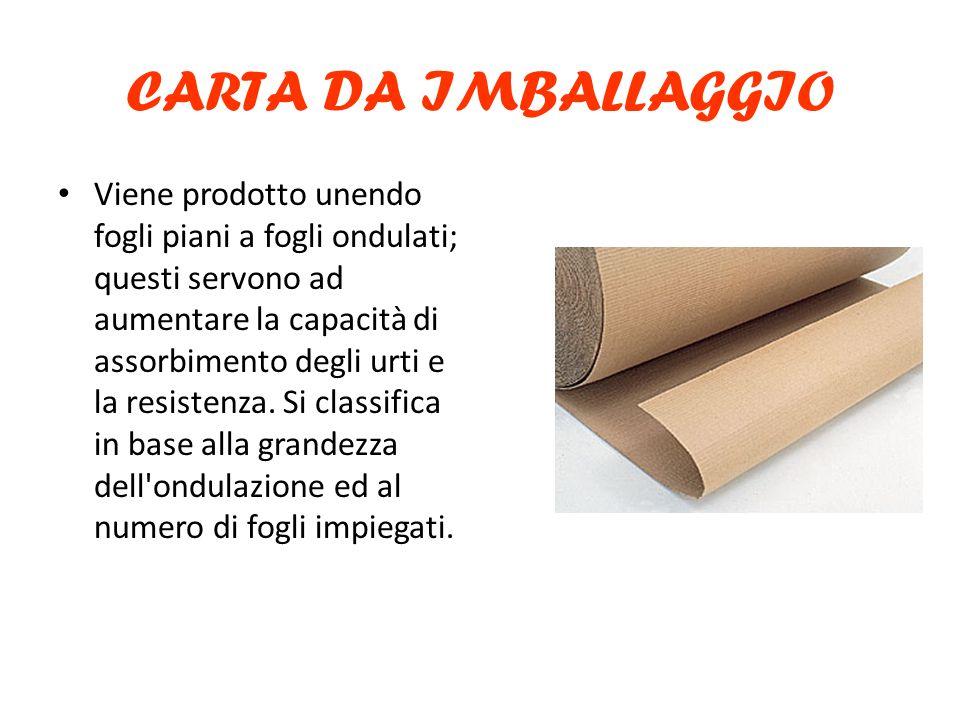 CARTA DA IMBALLAGGIO Viene prodotto unendo fogli piani a fogli ondulati; questi servono ad aumentare la capacità di assorbimento degli urti e la resistenza.