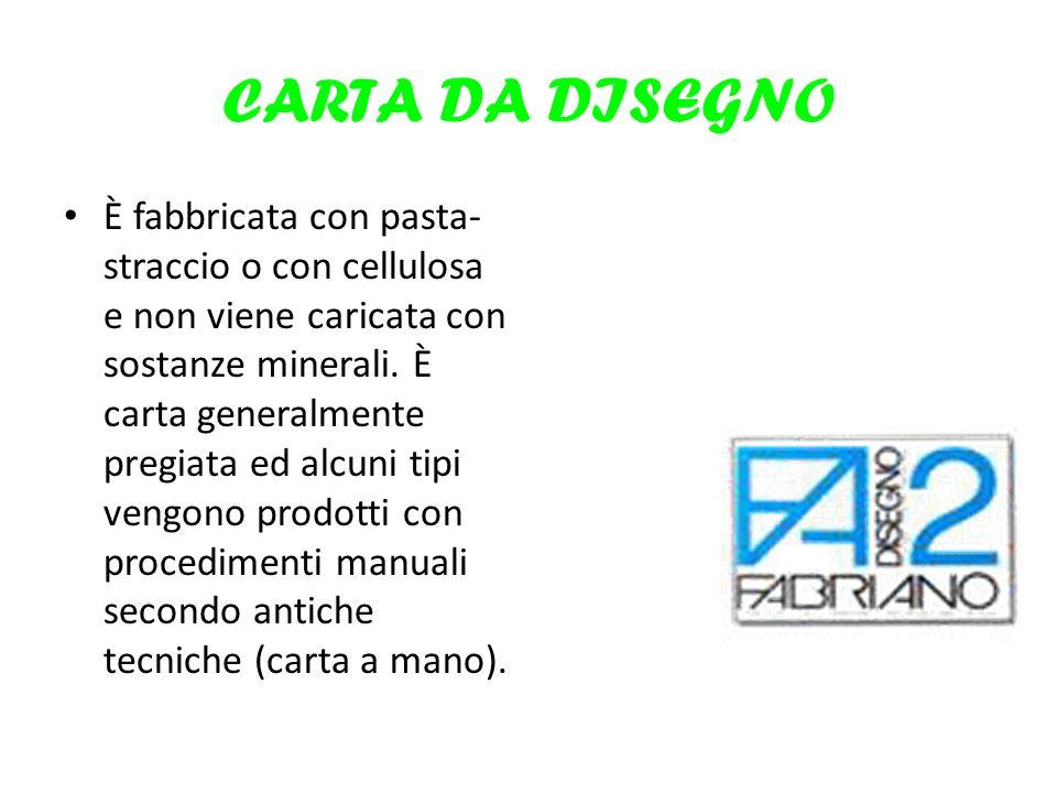 CARTA DA DISEGNO È fabbricata con pasta- straccio o con cellulosa e non viene caricata con sostanze minerali. È carta generalmente pregiata ed alcuni