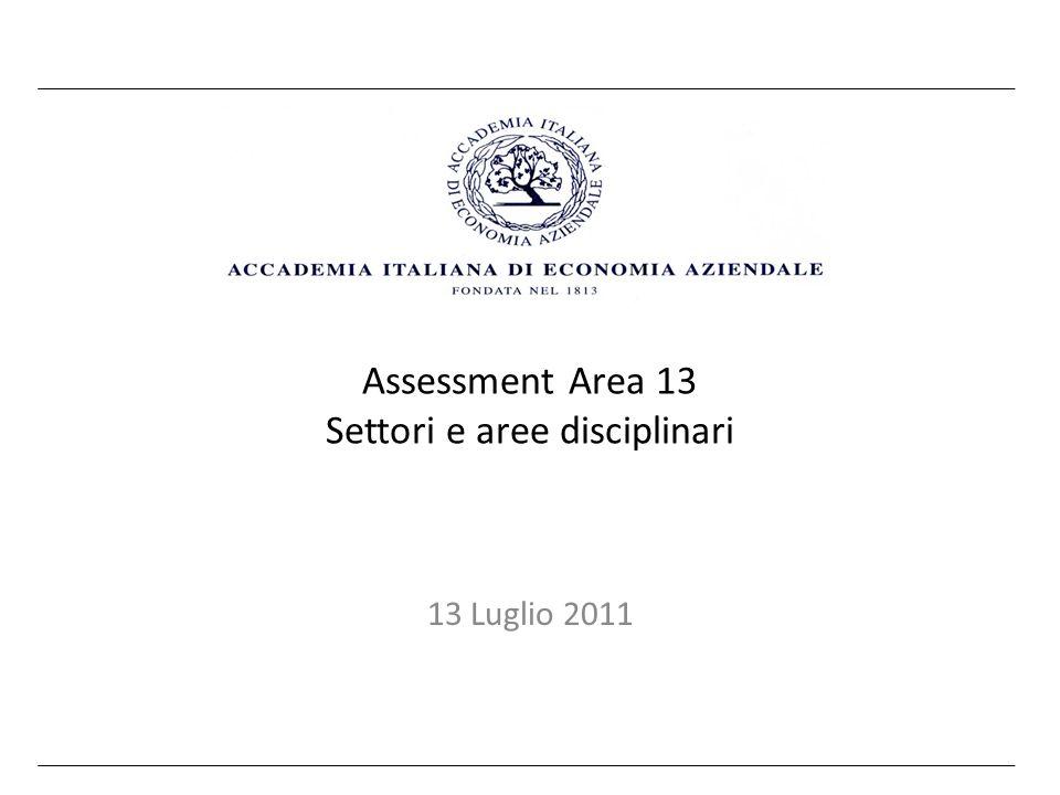 Obiettivi Misurare le prestazioni bibliometriche dei settori dellarea 13 Verificare omogeneità e differenze Identificare modelli di settore o di area Misurare levoluzione delle prestazioni In base ai risultati predisporre un documento Aidea per le istituzioni interessate e per i colleghi/soci Aidea, Assessment Area 13