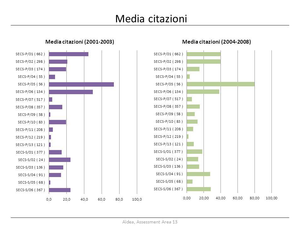 Media citazioni Aidea, Assessment Area 13