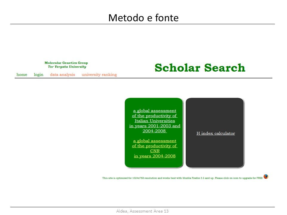 Metodo e fonte Aidea, Assessment Area 13