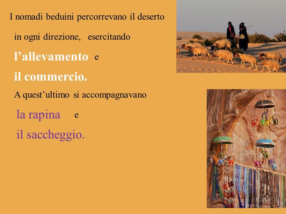 I nomadi beduini percorrevano il deserto in ogni direzione,esercitando lallevamento e il commercio. A questultimo si accompagnavano la rapina e il sac