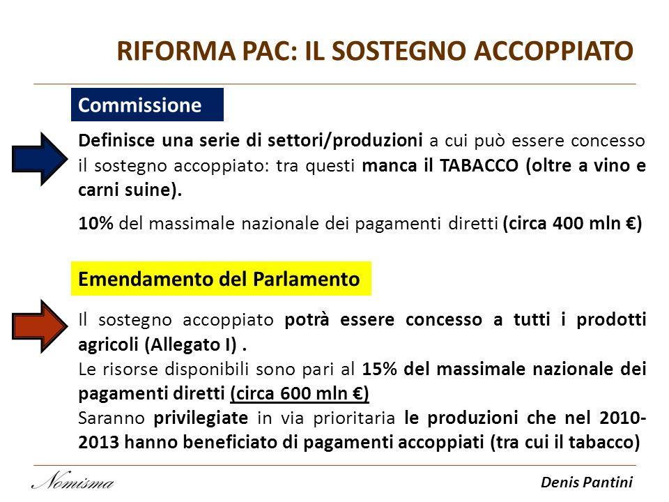 Denis Pantini RIFORMA PAC: IL SOSTEGNO ACCOPPIATO Commissione Definisce una serie di settori/produzioni a cui può essere concesso il sostegno accoppia