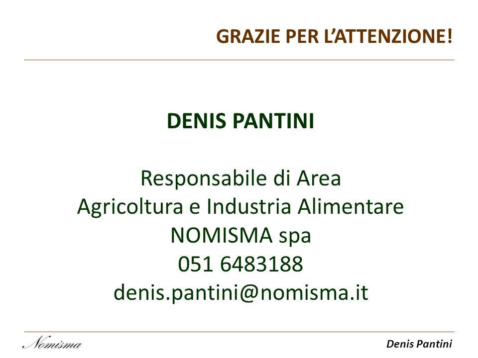 Denis Pantini GRAZIE PER LATTENZIONE! DENIS PANTINI Responsabile di Area Agricoltura e Industria Alimentare NOMISMA spa 051 6483188 denis.pantini@nomi