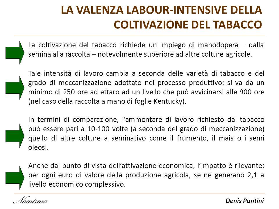 Denis Pantini LA VALENZA LABOUR-INTENSIVE DELLA COLTIVAZIONE DEL TABACCO La coltivazione del tabacco richiede un impiego di manodopera – dalla semina